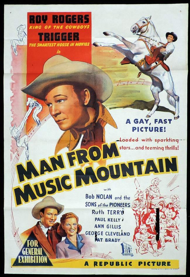 THE MAN FROM MUSIC MOUNTAIN Original One sheet Movie Poster ROY ROGERS Dale Evans and Trigger