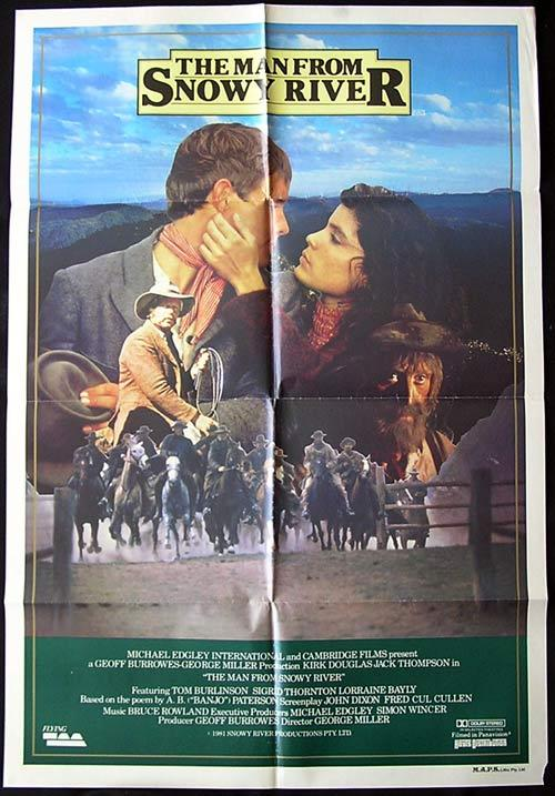 "MAN FROM SNOWY RIVER '81 Rare Country of Origin Movie poster-Style ""B"""
