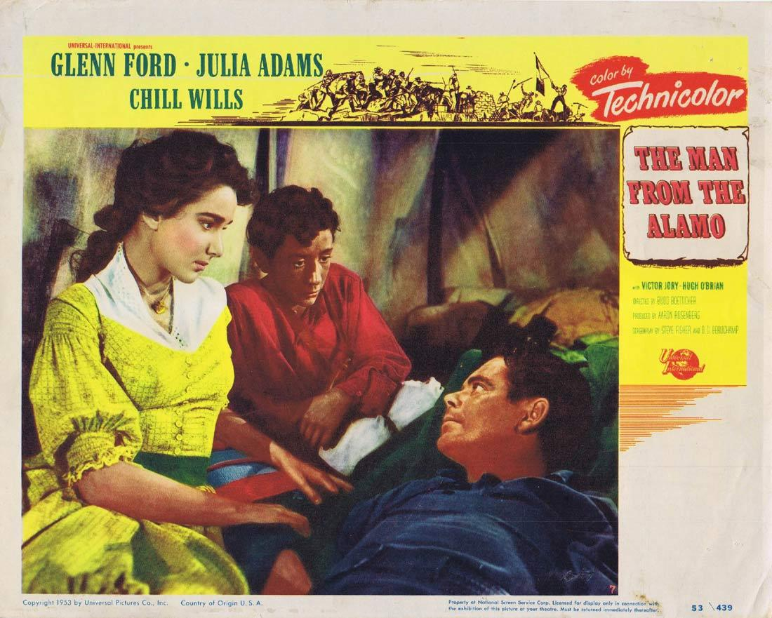 THE MAN FROM THE ALAMO Original Lobby Card 7 Glenn Ford Julie Adams Chill Wills