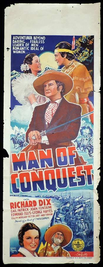 MAN OF CONQUEST Long Daybill Movie poster 1939 Richard Dix Frank Tyler art