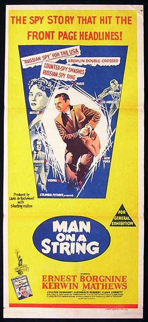 MAN ON A STRING Vintage Daybill Movie poster Ernest Borgnine FILM NOIR