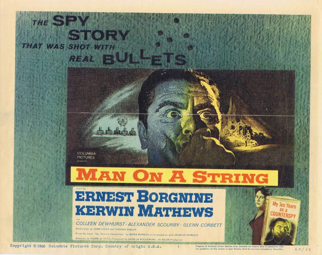 MAN ON A STRING Title Lobby Card Ernest Borgnine Kerwin Mathews Colleen Dewhurst