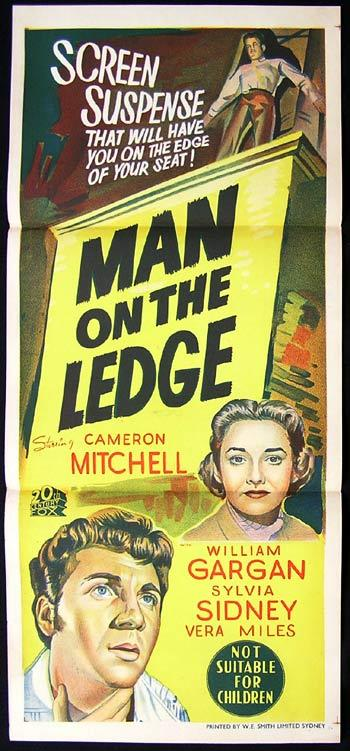 THE MAN ON THE LEDGE Movie poster Film Noir Cameron Mitchell