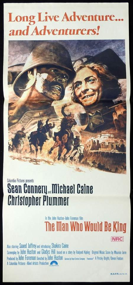 THE MAN WHO WOULD BE KING Original daybill Movie Poster Michael Caine Sean Connery