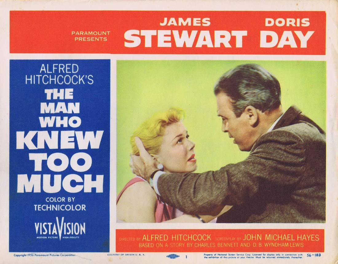 THE MAN WHO KNEW TOO MUCH Original Lobby Card 1 James Stewart Doris Day