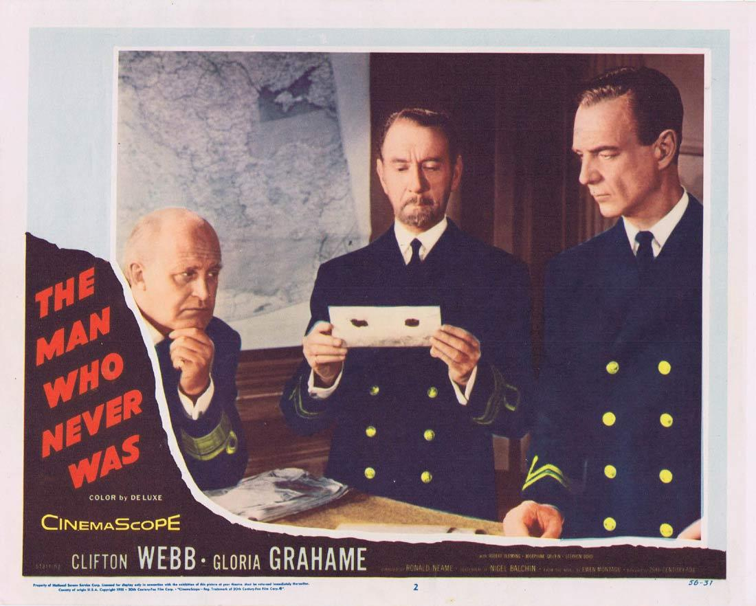 THE MAN WHO NEVER WAS Vintage Lobby Card 2 Clifton Webb Gloria Grahame Robert Flemyng