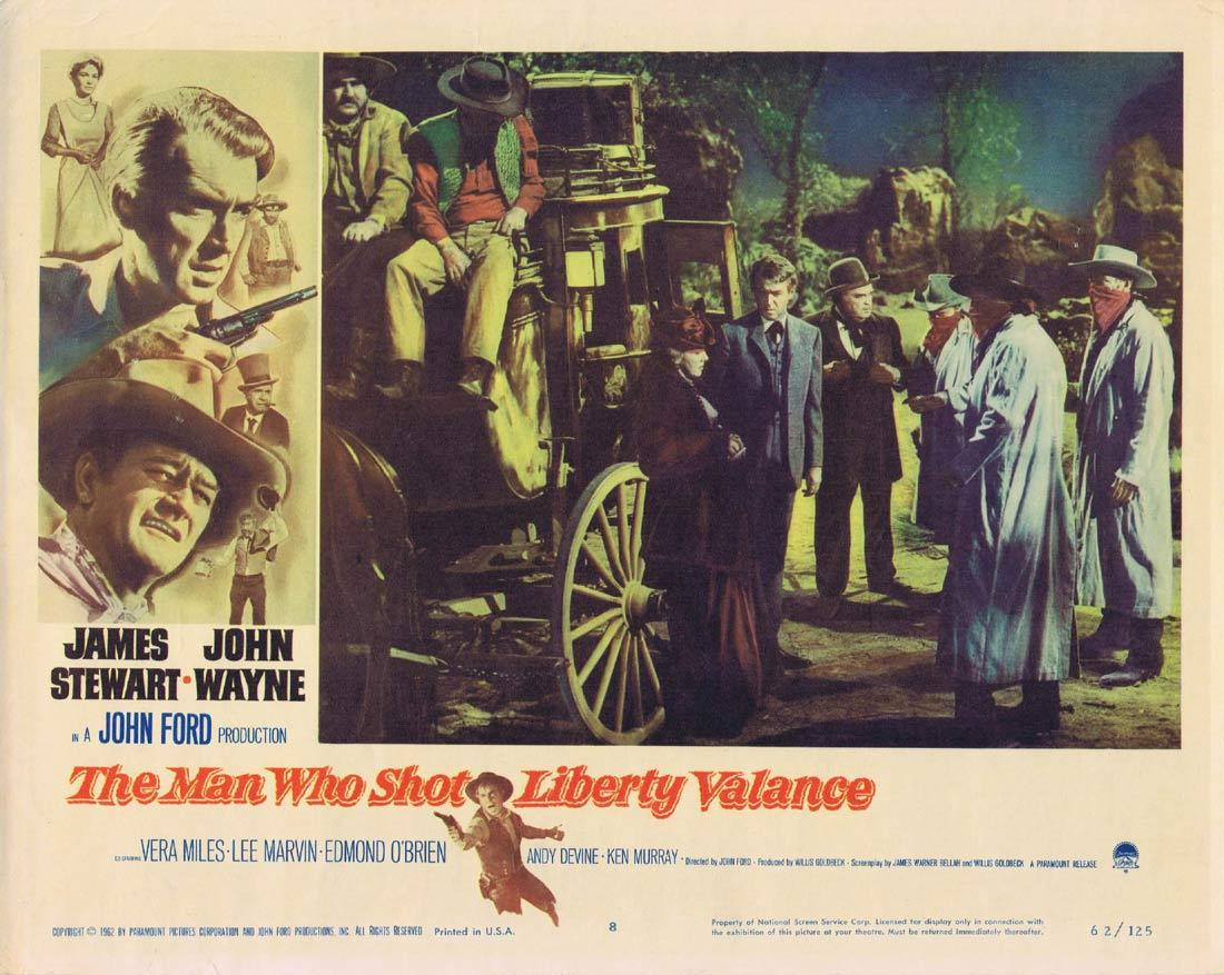 THE MAN WHO SHOT LIBERTY VALANCE Original Lobby Card 8 James Stewart John Wayne