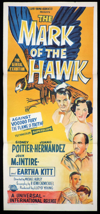 THE MARK OF THE HAWK Original Daybill Movie Poster Sidney Poitier Voodoo