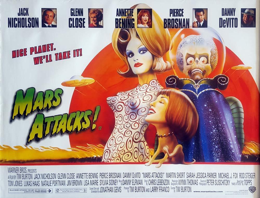 MARS ATTACKS British Quad Movie poster Jack Nicholson ...