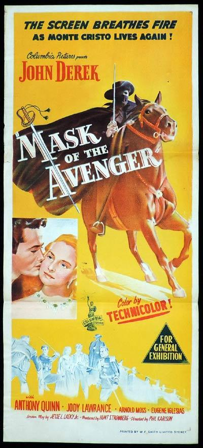 MASK OF THE AVENGER Daybill Movie poster Anthony Quinn