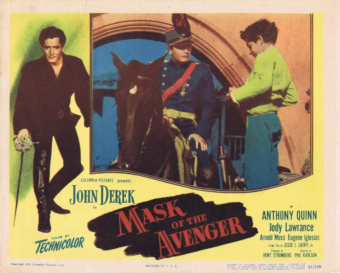 MASK OF THE AVENGER Lobby Card 2 John Derek Anthony Quinn Jody Lawrance