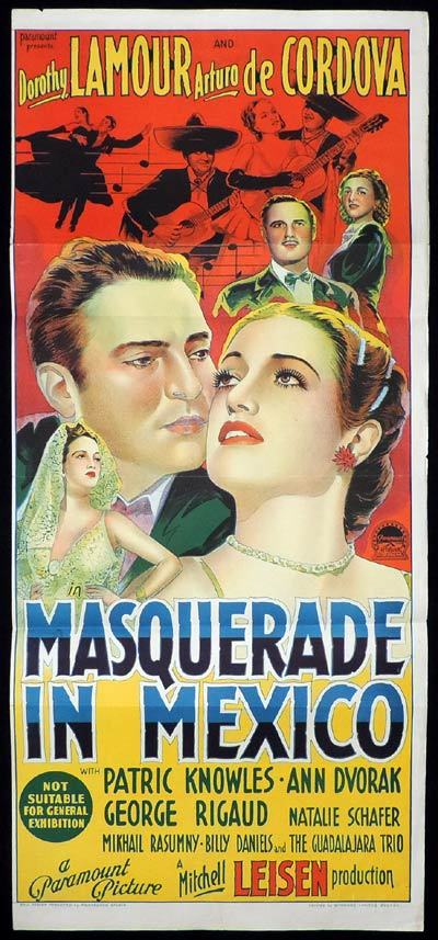 MASQUERADE IN MEXICO Daybill Movie poster RICHARDSON STUDIO Dorothy Lamour