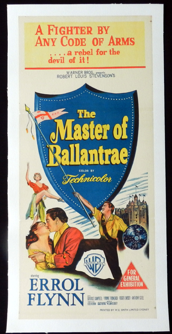 MASTER OF BALLANTRAE 1953 Errol Flynn LINEN BACKED Daybill movie poster