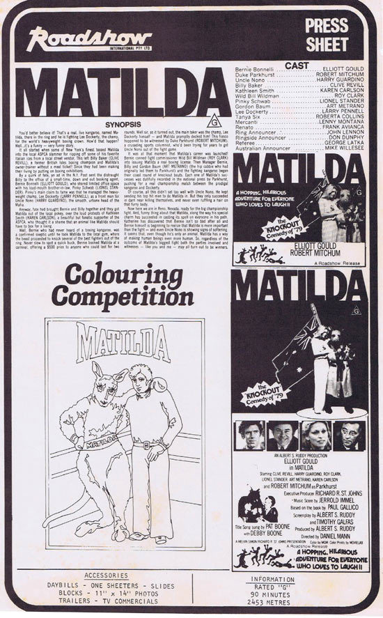 MATILDA Rare AUSTRALIAN Movie Press Sheet