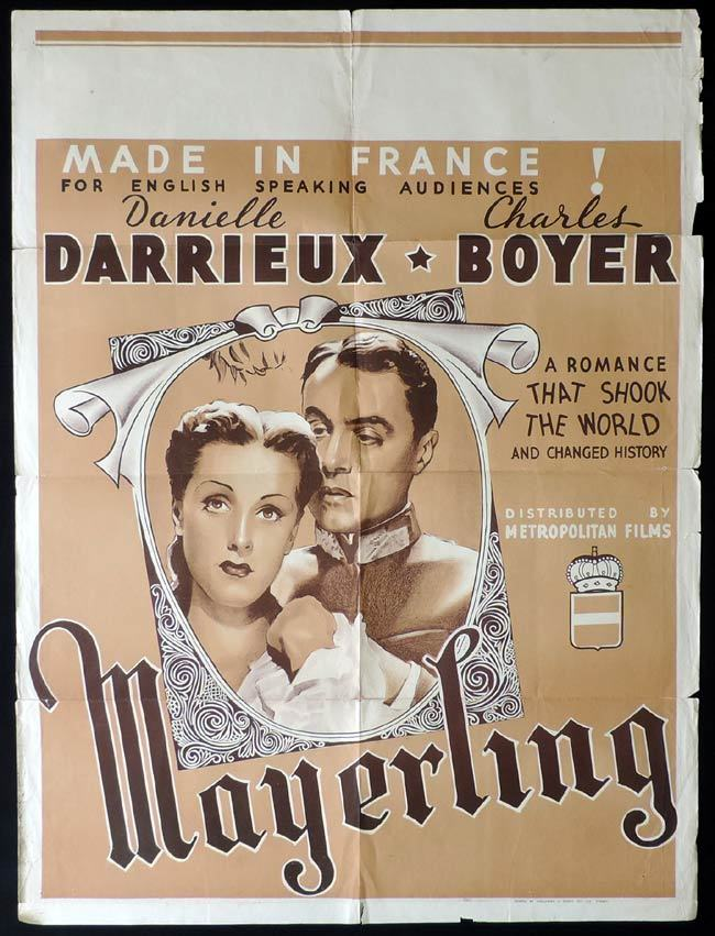 MAYERLING One Sheet Movie Poster Charles Boyer Danielle Darrieux