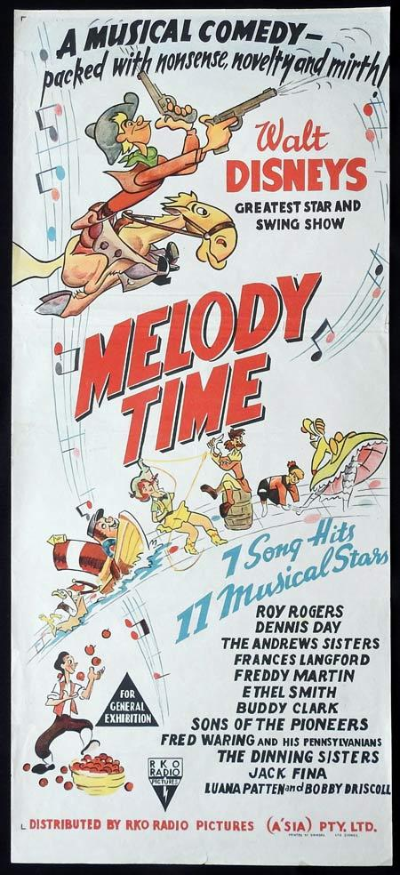 Melody Time, Donald Duck, Pecos Bill, Little Toot, Walt Disney, Roy Rogers, Dennis Day, The Andrews Sisters, Frances Langford, Freddy Martin, Ethel Smith, Buddy Clark, Fred Waring and his Pennsylvanians, Sons of the Pioneers, The Dinning Sisters, Jack Fina, Luana Patten, Bobby Driscoll, Bob Nolan