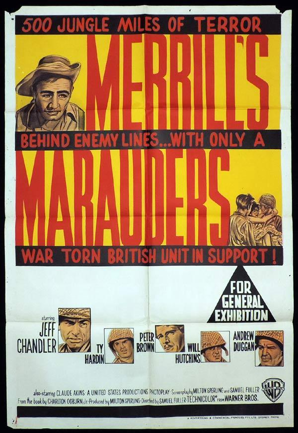 MERRILL'S MARAUDERS One Sheet Movie Poster Jeff Chandler