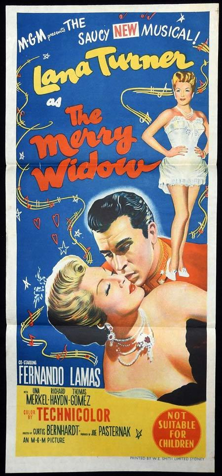 THE MERRY WIDOW Original Daybill Movie Poster Lana Turner Fernando Lamas