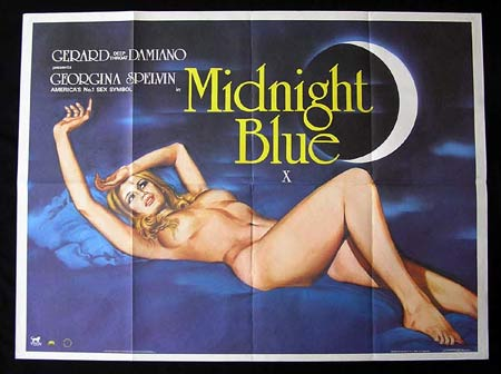 MIDNIGHT BLUE, British Quad, Movie poster, Tom Chantrell, Georgina Spelvin, Sexploitation