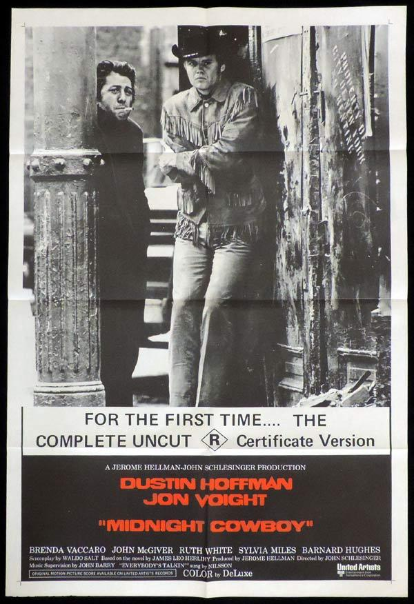 MIDNIGHT COWBOY One sheet Movie poster R Rated Version Dustin Hoffman