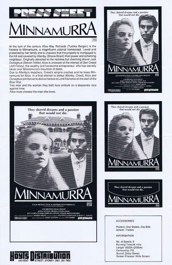 MINNAMURRA Rare AUSTRALIAN Movie Press Sheet