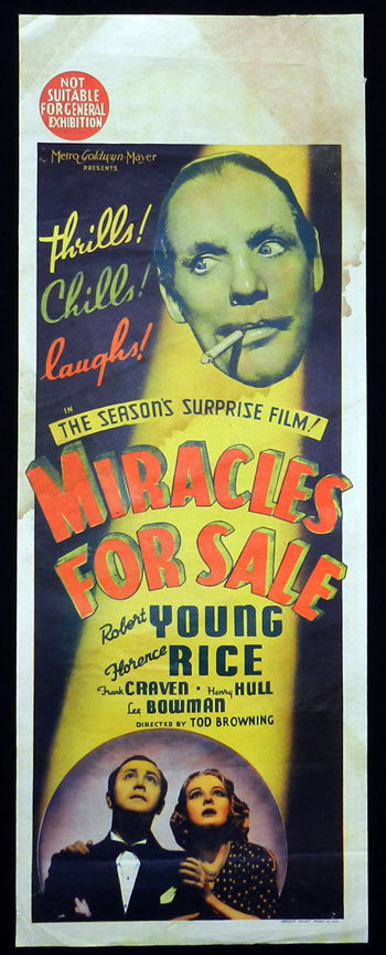 MIRACLES FOR SALE 1939 Todd Browning LONG DAYBILL Movie poster