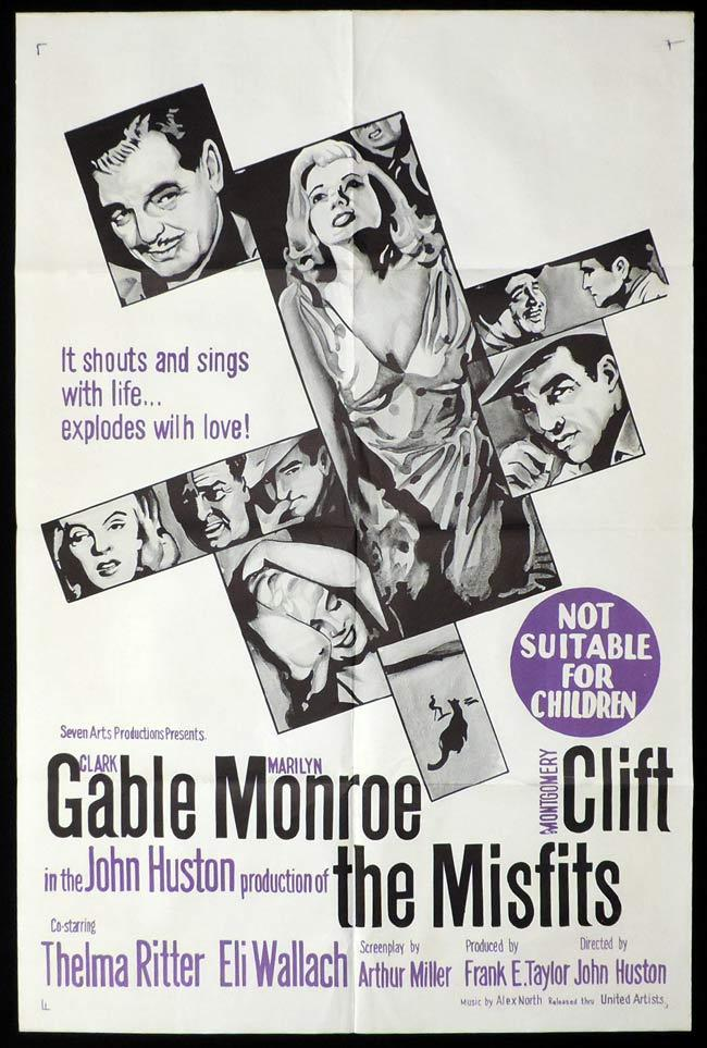 THE MISFITS, Australian Daybill, Movie poster, Marilyn Monroe, James Dean, Montgomery Clift