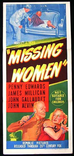 MISSING WOMEN Daybill Movie Poster Penny Edwards NOIR poster