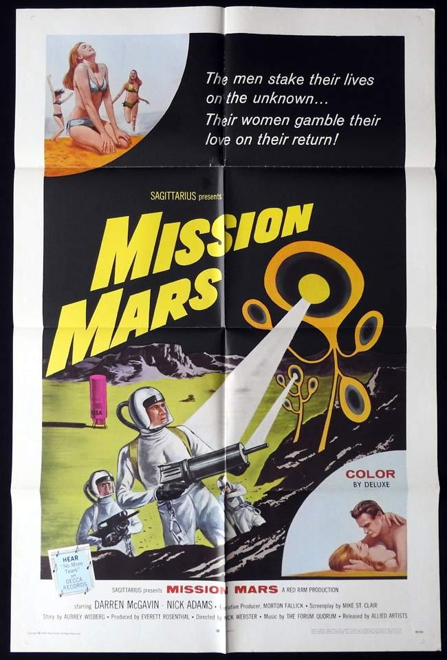 MISSION MARS Original US One sheet Movie Poster Sci Fi Darren McGavin