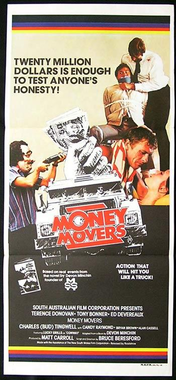 MONEY MOVERS Daybill Movie poster 1978 Bruce Beresford