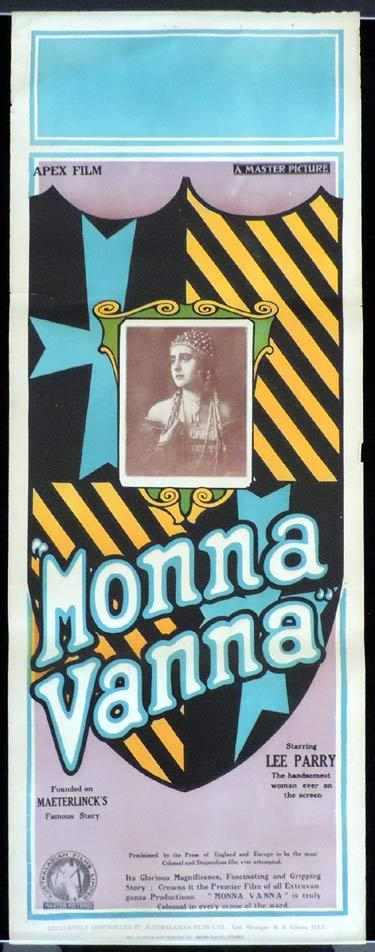 MONNA VANNA 1922 Lee Parry SILENT CLASSIC Vintage Long Daybill Movie Poster