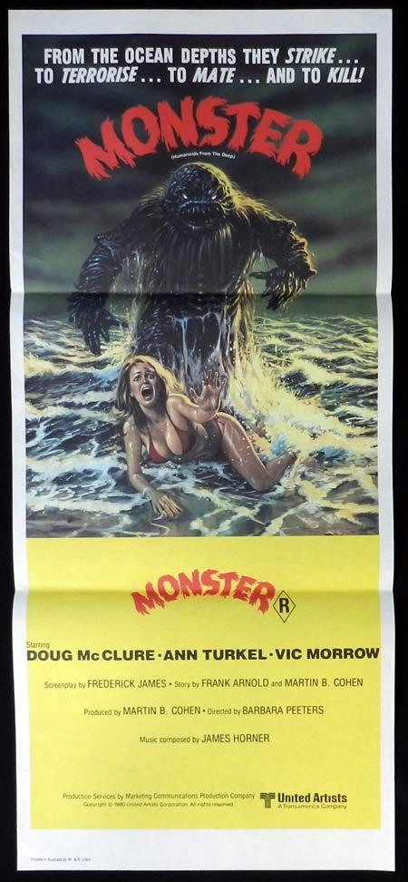 MONSTER HUMANOIDS FROM THE DEEP Original daybill Movie poster Doug McClure Sci FI
