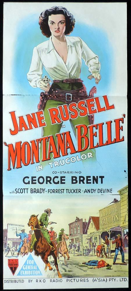 MONTANA BELLE Original Daybill Movie Poster RKO Jane Russell