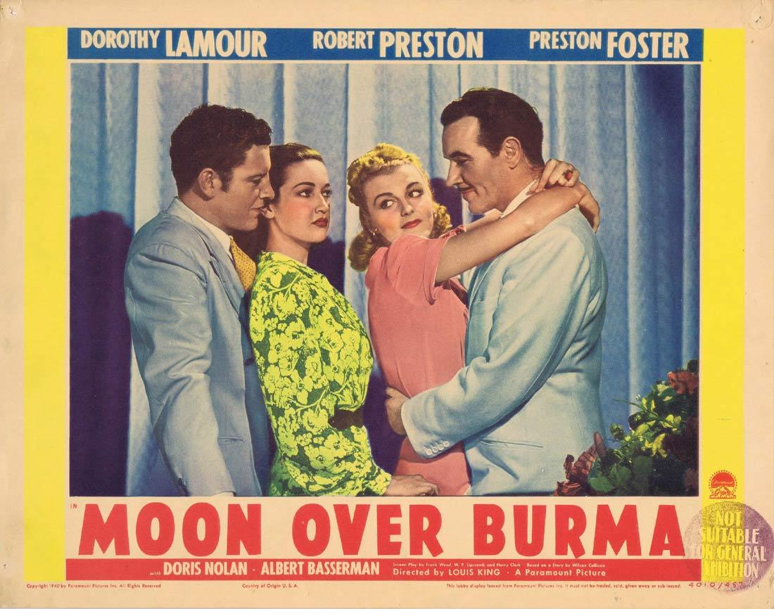 MOON OVER BURMA Lobby card Dorothy Lamour Robert Preston Preston Foster 1940