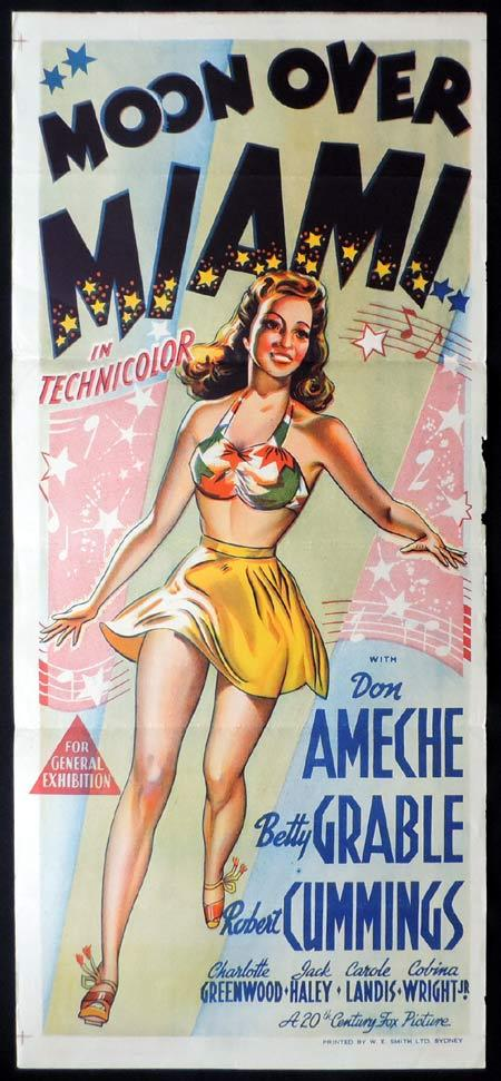 MOON OVER MIAMI Original Daybill Movie Poster Betty Grable
