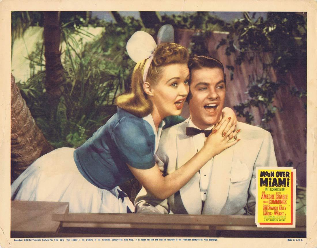 MOON OVER MIAMI Vintage Lobby Card Betty Grable Robert Cummings