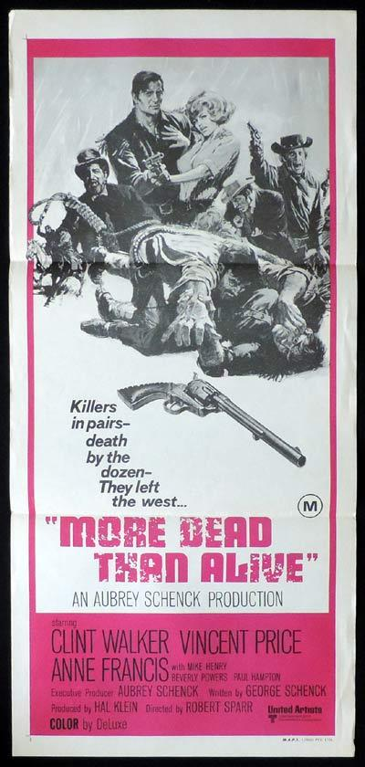 MORE DEAD THAN ALIVE Daybill Movie Poster Clint Walker Vincent Price