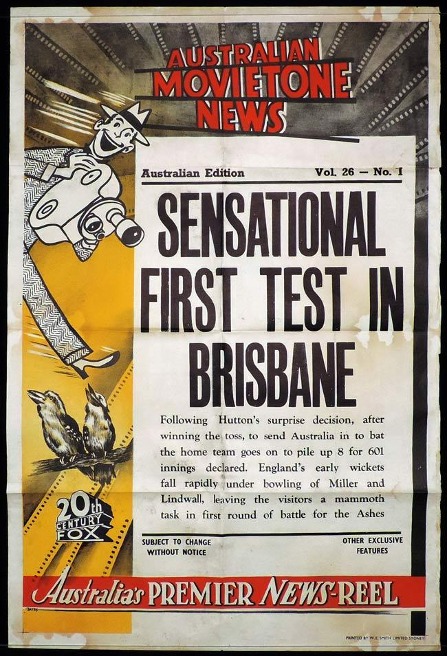 MOVIETONE NEWS One Sheet Movie Poster 1954 Vol 26 No 11 Ashes Cricket Test Oz Bates