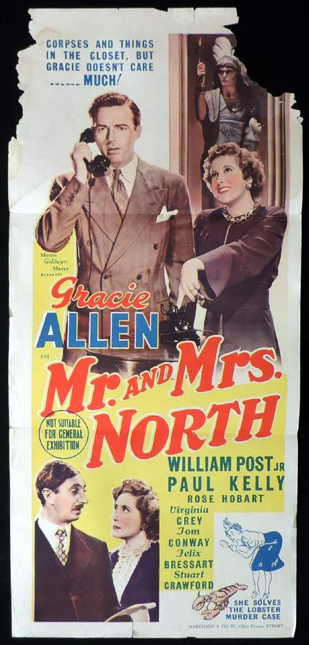 MR AND MRS NORTH Daybill Movie Poster Gracie Allen