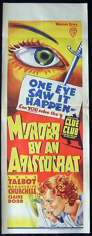MURDER BY AN ARISTOCRAT Long Daybill Movie poster Lyle Talbot