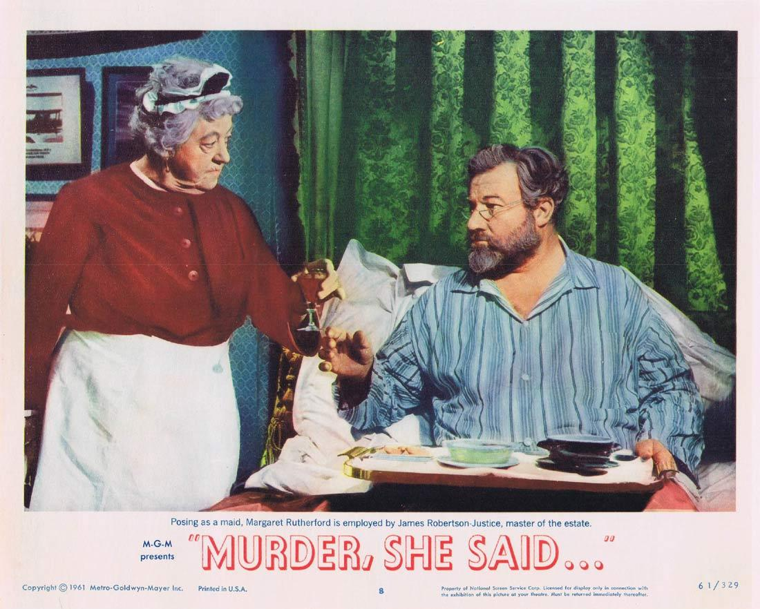 MURDER SHE SAID Lobby Card 8 Agatha Christie Margaret Rutherford Arthur Kennedy