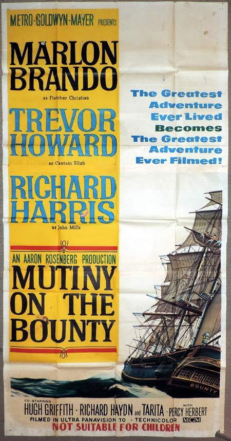MUTINY ON THE BOUNTY Original 3 Sheet Movie Poster Marlon Brando Trevor Howard