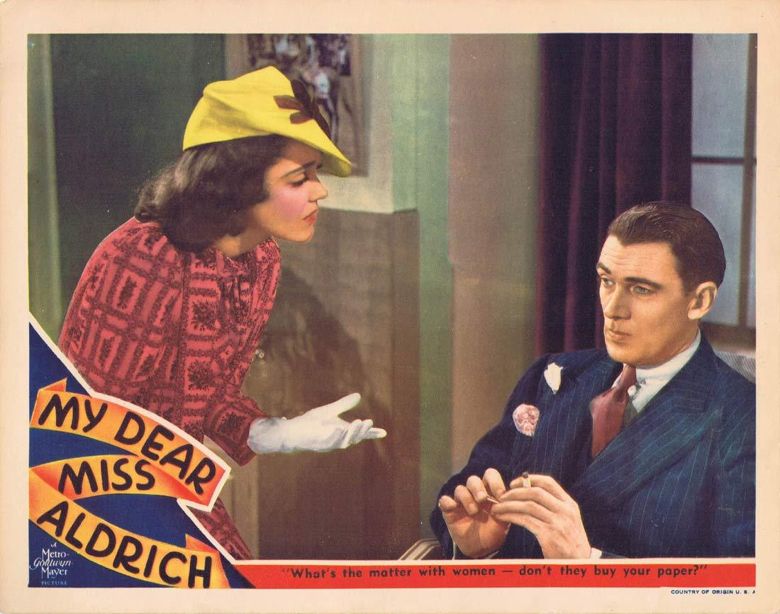 MY DEAR MISS ALDRICH Original Lobby Card Edna May Oliver Maureen O'Sullivan Walter Pidgeon