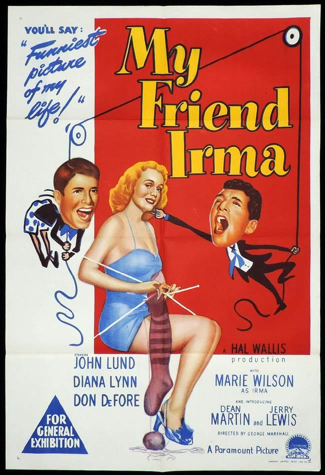 MY FRIEND IRMA Original One sheet Movie Poster JERRY LEWIS Dean Martin