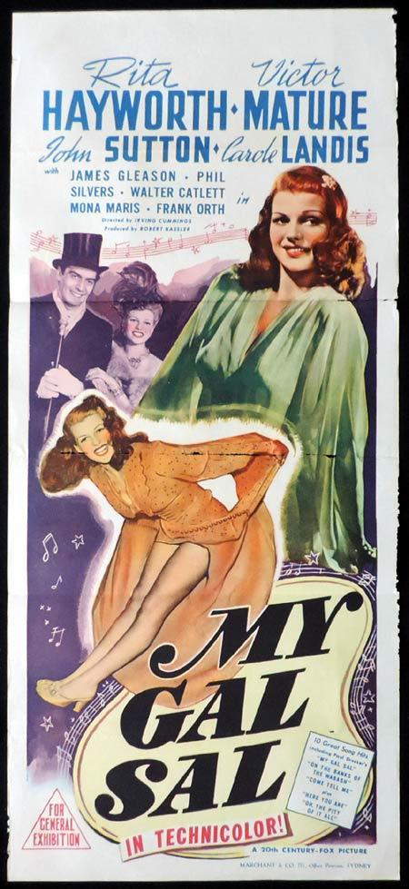 MY GAL SAL Original Daybill Movie Poster Victor Mature Rita Hayworth