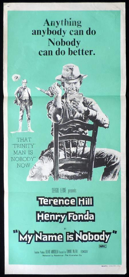 MY NAME IS NOBODY Original Daybill Movie Poster Terence Hill Bud Spencer Spaghetti Western