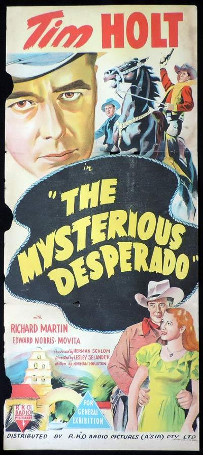THE MYSTERIOUS DESPERADO Original Daybill Movie Poster Tim Holt Western