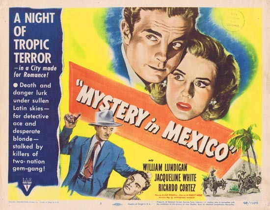 MYSTERY IN MEXICO 1948 Film Noir William Lundigan Title Lobby Card