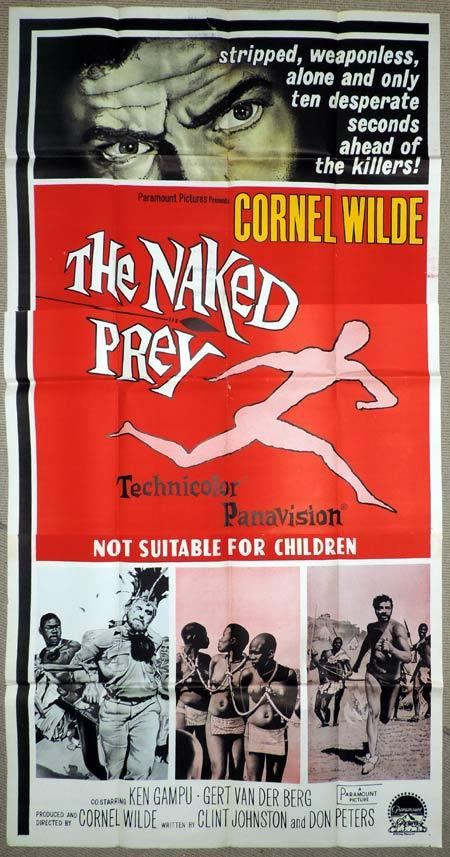 THE NAKED PREY Original 3 Sheet Movie Poster Cornel Wilde
