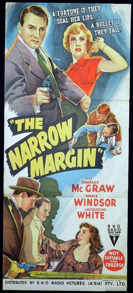 NARROW MARGIN Charles McGraw Film Noir Daybill Movie poster